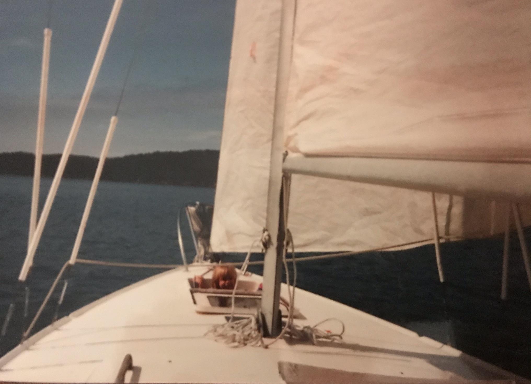 Elizabeth on a boat