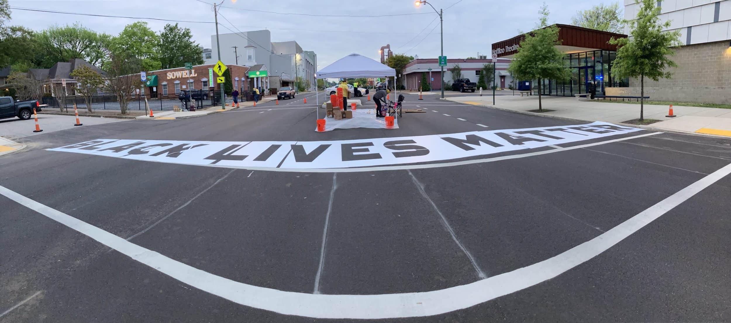The team began working on the crosswalks before dawn.