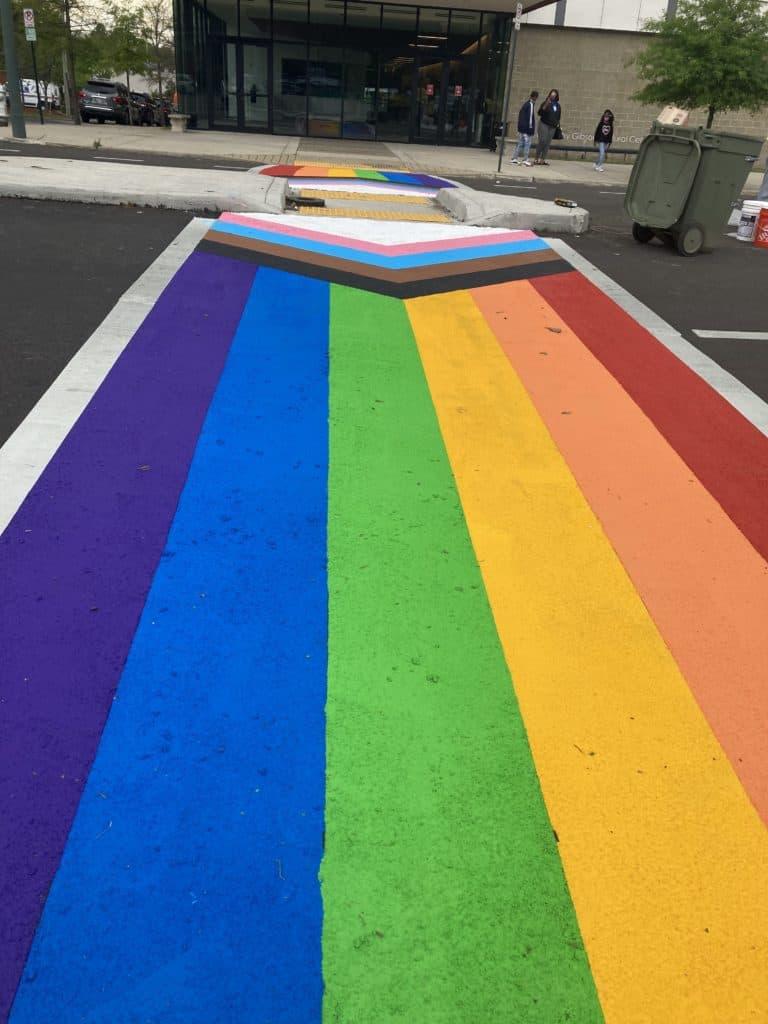 Artist Daniel Quasar designed an inclusive rainbow flag.