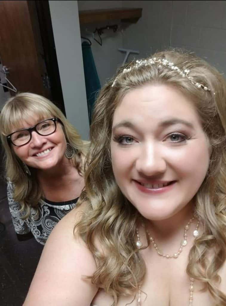 Leila and her mom at her wedding