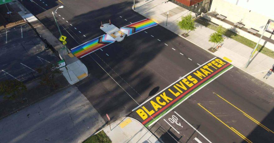 Drone shot of the crosswalks. Photo by Terrance Jenkins.